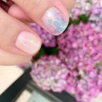 たらしこみフラワーネイル 紫陽花